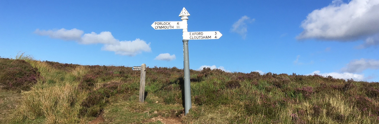 Historic signpost in moorland.